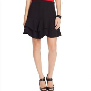 Ralph Lauren Women's Black Ruffled Two-tier Skirt